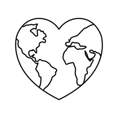 world shaped heart happy earth day vector illustration