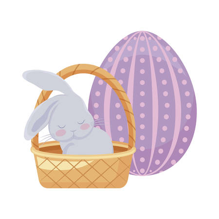 cute rabbit with basket wicker and egg of easter vector illustration design