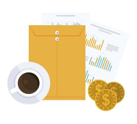 coffee cup with manila envelope vector illustration design Illustration