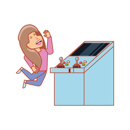 girl playing in retro console video game machine vector illustration design Illustration