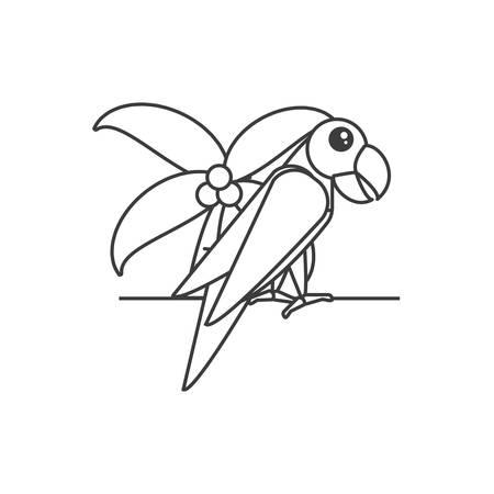 parrot bird with palm tree vector illustration design Çizim