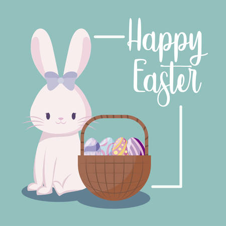 cute rabbit female and basket with eggs of easter vector illustration design