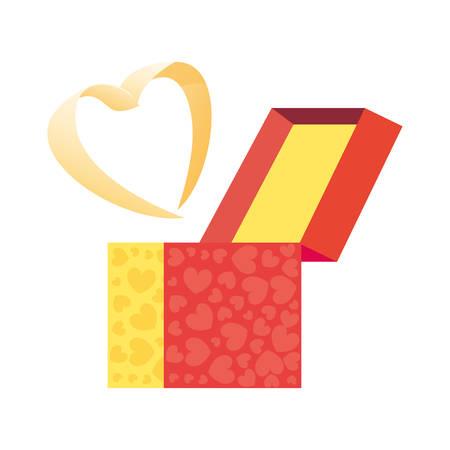 gift box love heart romantic vector illustration Ilustracja