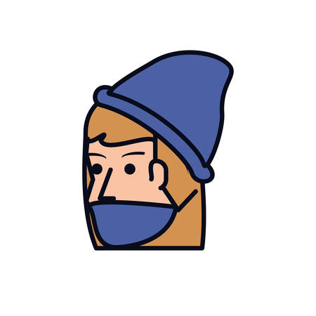 head of young woman with winter hat vector illustration design