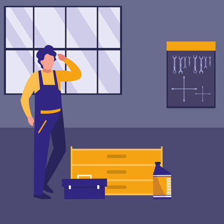 mechanic worker with toolbox in the workplace vector illustration design