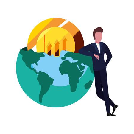 businessman money coin world vector illustration design Ilustração