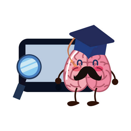 brain cartoon tablet education graduation hat magnifier vector illustration