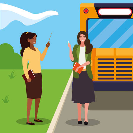 interracial female teachers in stop bus characters vector illustration design