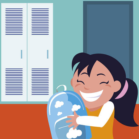 little schoolgirl with schoolbag in school corridor vector illustration design
