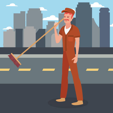 street sweeper with broom city labour day vector illustration