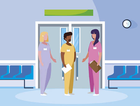 interracial group medicine workers in elevator door vector illustration design