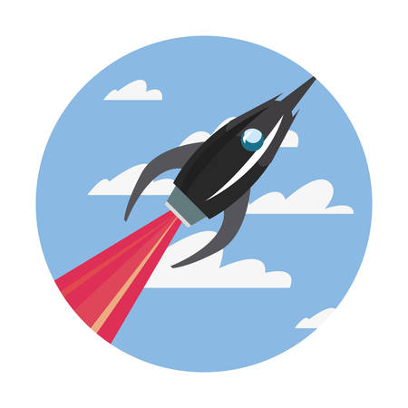 rocket spaceship flying in the sky vector illustration Çizim