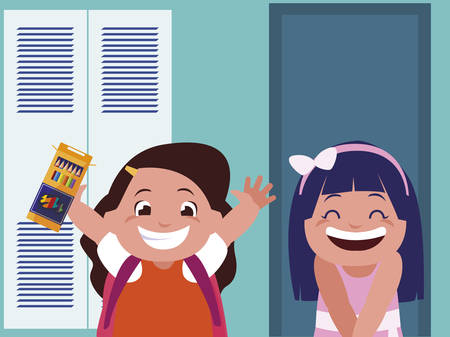 happy little schoolgirls in the school corridor vector illustration design