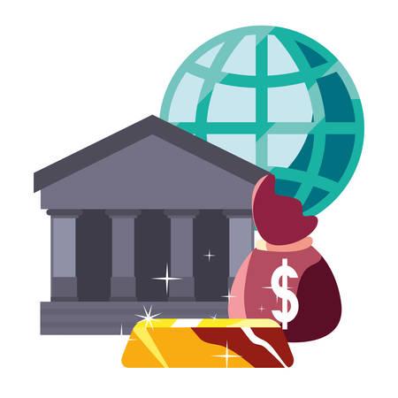 bank saving money bag gold bar world vector illustration Standard-Bild - 122961019