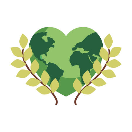 world shaped heart branches happy earth day vector illustration Ilustracja