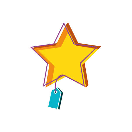 star with tag commercial isolated icon vector illustration design