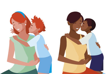 interracial mothers with little kids characters vector illustration design 向量圖像