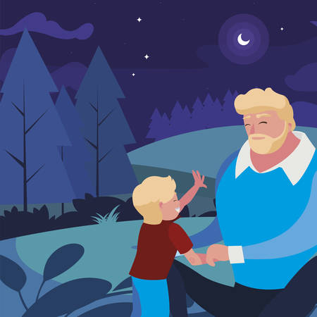 father with son in the field at night vector illustration design Ilustrace