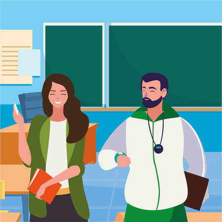 sports and female teachers in the classroom characters vector illustration design