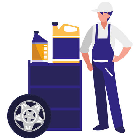 mechanic worker with oil gallon and tire track vector illustration design Çizim