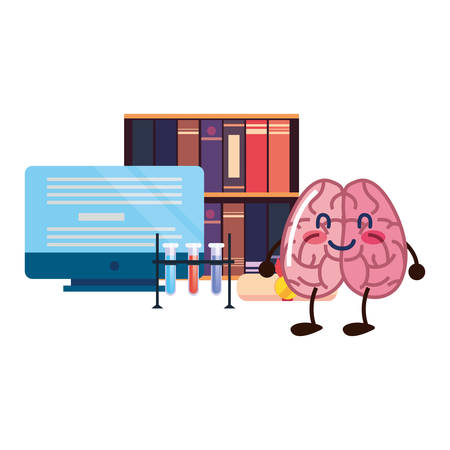 brain cartoon education computer books science vector illustration Ilustrace