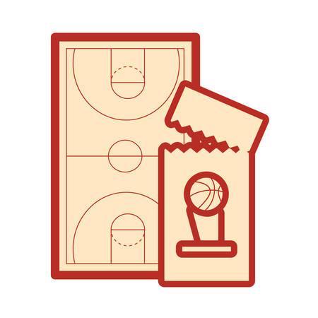 basketball sport court floor ticket vector illustration