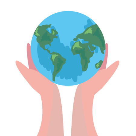 hands holding world happy earth day vector illustration