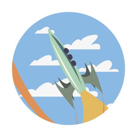 rocket spaceship flying in the sky vector illustration Vettoriali