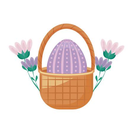 egg of easter in basket wicker with flowers vector illustration design