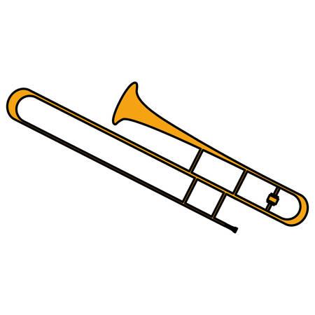 Strumento a tromba icona musicale illustrazione vettoriale design Vettoriali