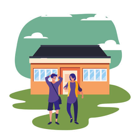 people standing next house scene vector illustration