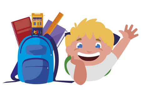 happy little schoolboy with schoolbag and supplies vector illustration design