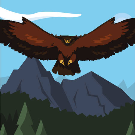 beautiful eagle flying in the landscape majestic bird vector illustration design Vettoriali