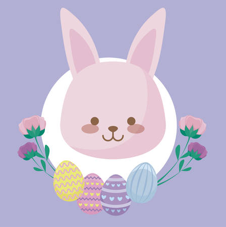 head of cute rabbit with flowers and eggs of easter vector illustration design