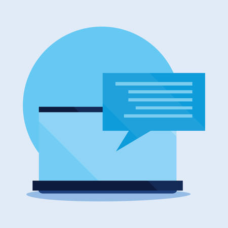 computer speech bubble cyber security vector illustration