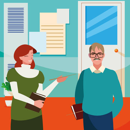 teachers couple in the school corridor vector illustration design Ilustrace
