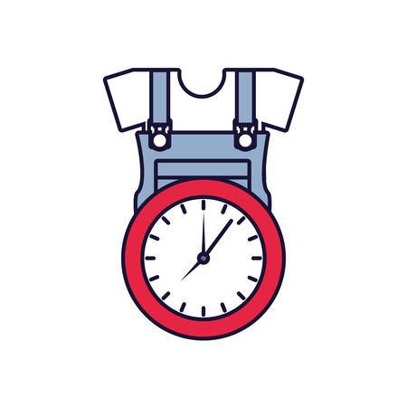 overall uniform construction with clock time vector illustration design Illustration