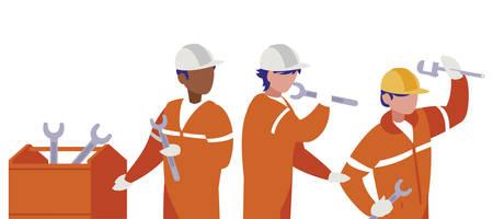 group of men builders working vector illustration design