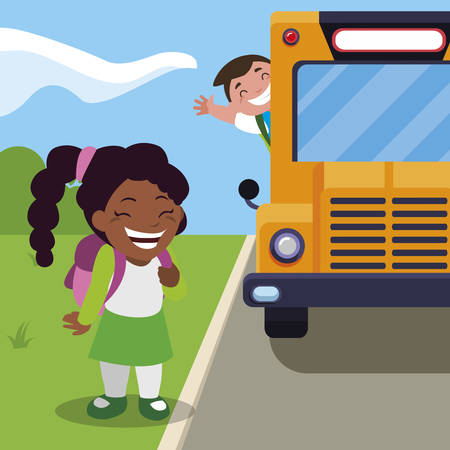 happy little interracial school kids in the bus stop vector illustration design Ilustracja