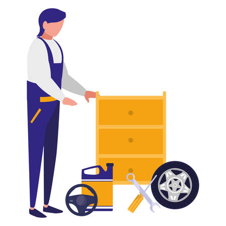 mechanic worker with tire car and oil gallon vector illustration design
