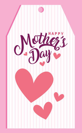 happy mother day card with hearts love vector illustration design