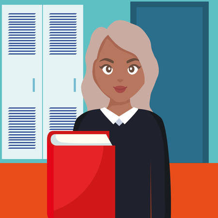young student black woman with book vector illustration design
