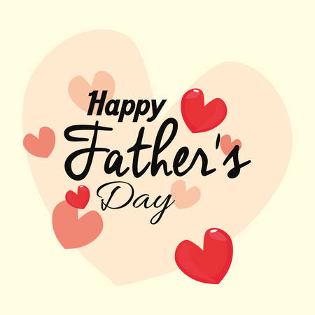 happy fathers day card love hearts vector illustration