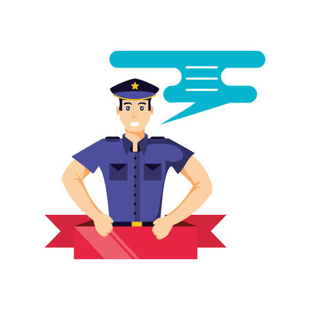 police officer with speech bubble avatar character vector illustration design