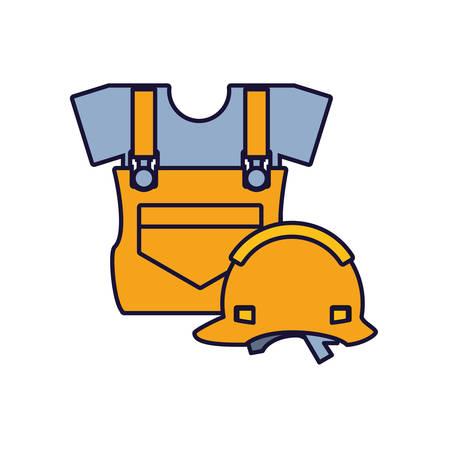 overall uniform construction with helmet security vector illustration design