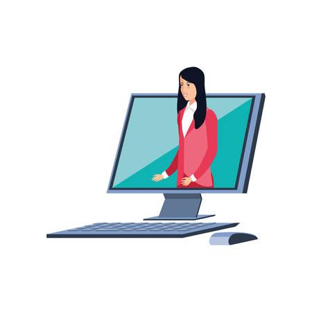 business woman elegant in desktop computer vector illustration design