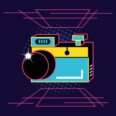 photographic camera of nineties retro vector illustration design