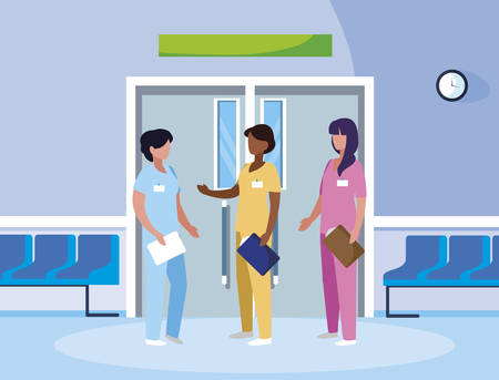 interracial female medicine workers in elevator door vector illustration design Çizim