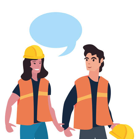 man and woman builder talk labour day vector illustration
