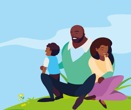 black parents couple with son in the landscape vector illustration design